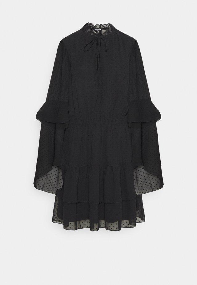 KEYHOLE FLUTTER SMOCK DRESS DOBBY - Day dress - black