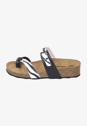 T-bar sandals - weiß/zebra