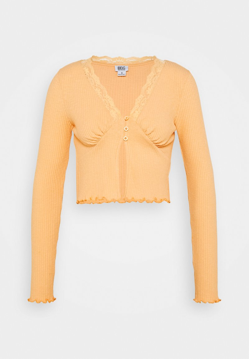 BDG Urban Outfitters - VNECK LACE CARDIGAN TOP - Strickjacke - peach