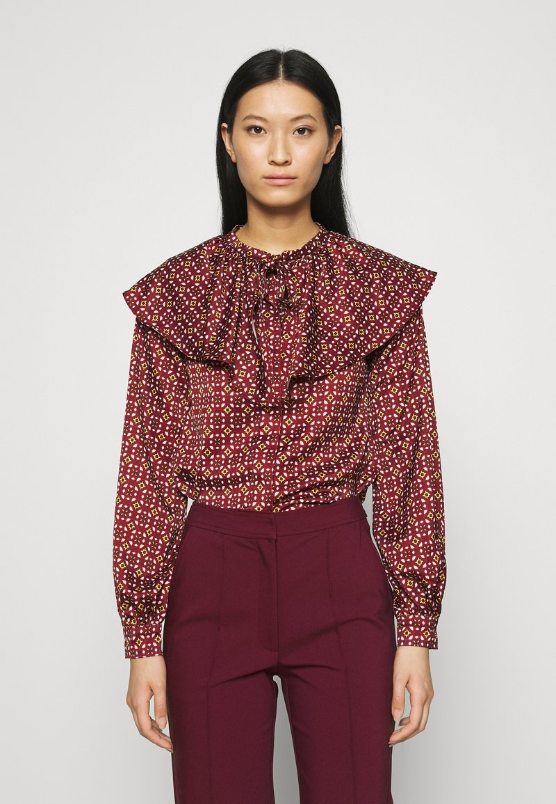 Who What Wear - RUFFLE NECK  - Blouse - maroon mosaic