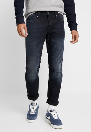 3301 STRAIGHT TAPERED - Straight leg -farkut - siro black stretch denim aged
