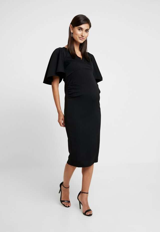 KIMONO SLEEVE DRESS WITH SPLIT DETAIL - Shift dress - black