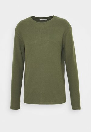 RIBBED LOUNGE TOP - Pyjama top - khaki