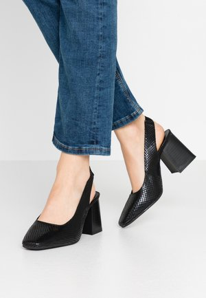 WIDE FIT LEXIS BLOCK HEEL SQUARE TOE SLINGBACK - Classic heels - black