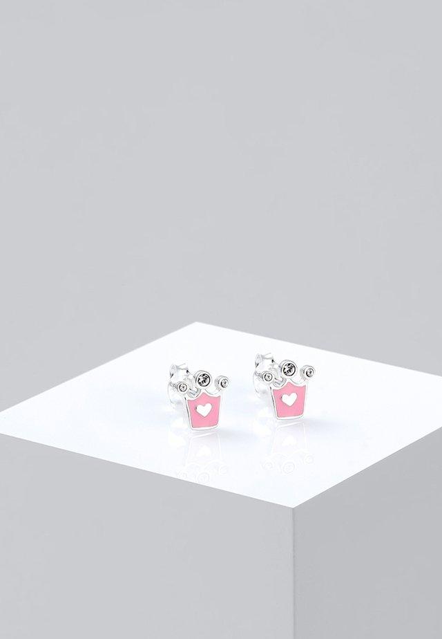 KINDER HERZ KRONE - Earrings - silver-coloured