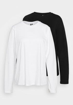 PCRIA SOLID TEE 2 PACK  - Long sleeved top - black/white