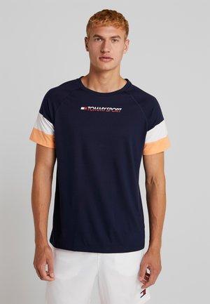 BLOCK TEE - Camiseta estampada - sport navy