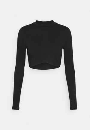 LONG SLEEVE CROP - Top s dlouhým rukávem - black