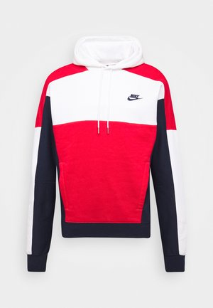 HOODIE - Huppari - white/obsidian/university red