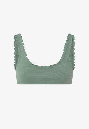 MIT GEWELLTEM SAUM  - Bikini top - green