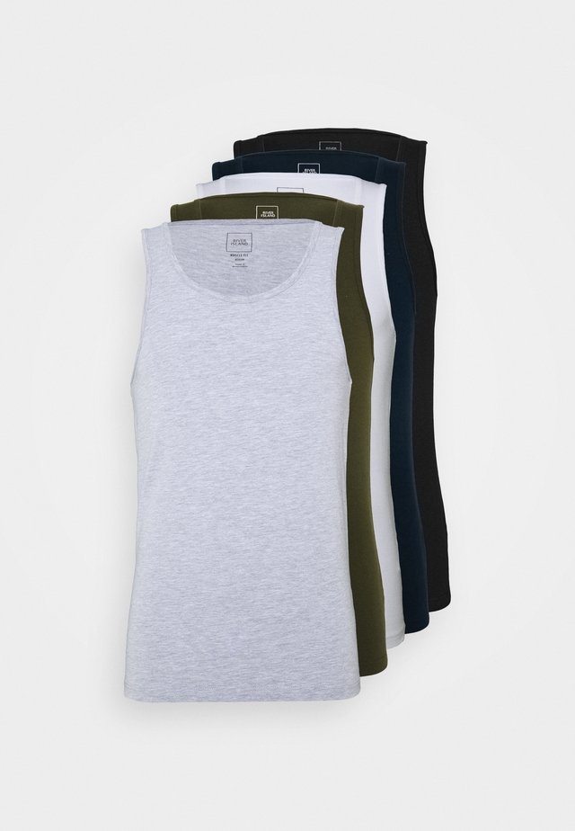 5PACK  - T-shirt basique - khaki/white/blue/grey/black