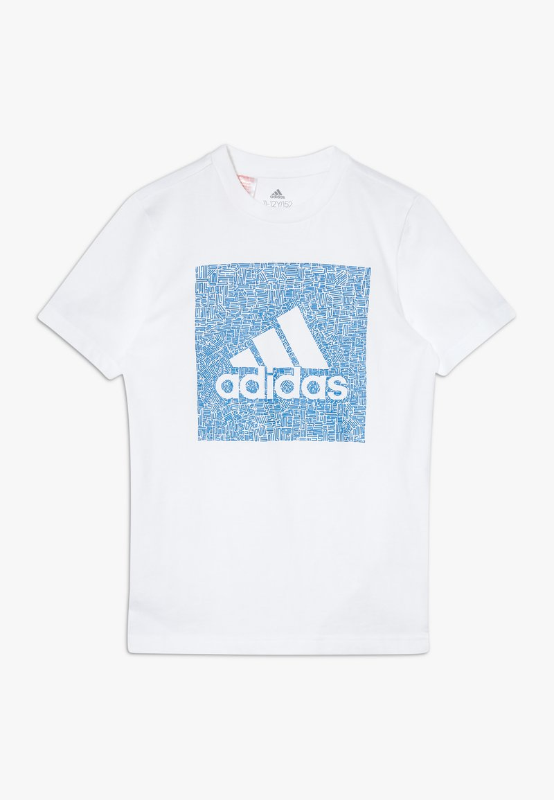 adidas Performance - BOS BOX - Print T-shirt - white/blue