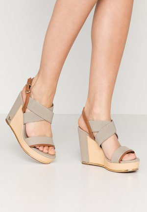 TH HARDWARE BASIC HIGH WEDGE - High heeled sandals - stone