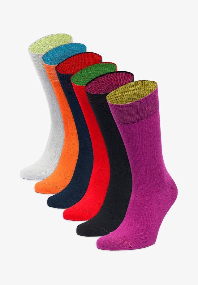 6PACK - Socks - grau,orange,blau,rot,schwarz,lila