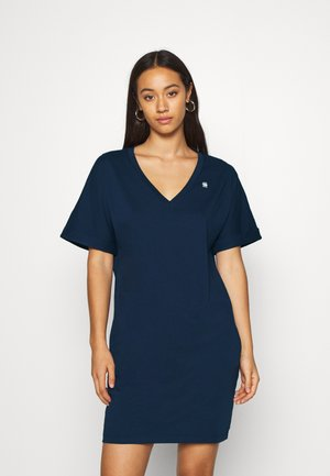 LOOSE DRESS V WMN S\S - Vestito di maglina - sartho blue