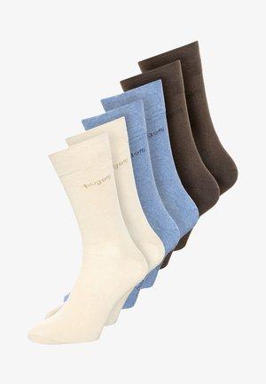 6 PACK - Strumpor - beige/light denim melange/brown melange