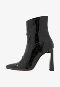 Missguided - FEATURE SHINY WESTERN BOOT - High heeled ankle boots - black - 1