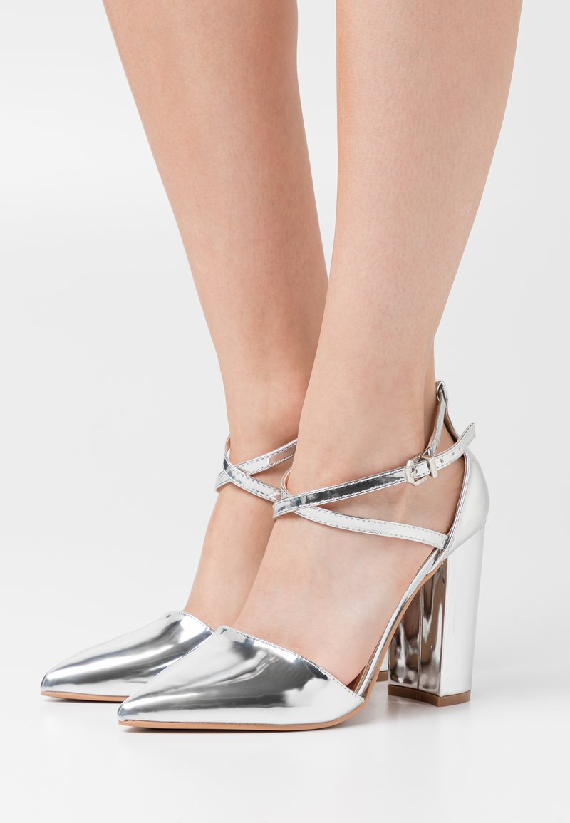 RAID Wide Fit - WIDE FIT KATY - High heels - silver mirror