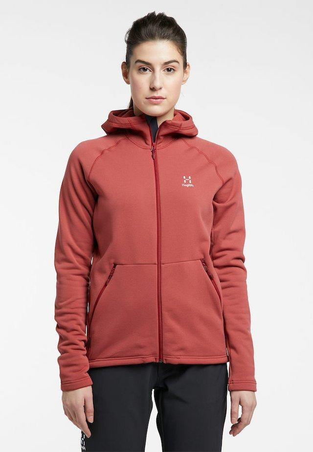 BUNGY HOOD - Fleece jacket - brick red