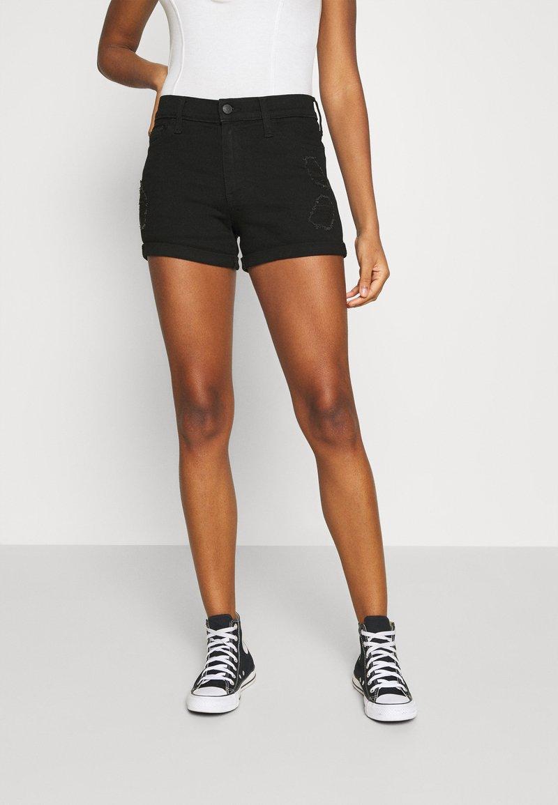 Hollister Co. - Szorty jeansowe - black