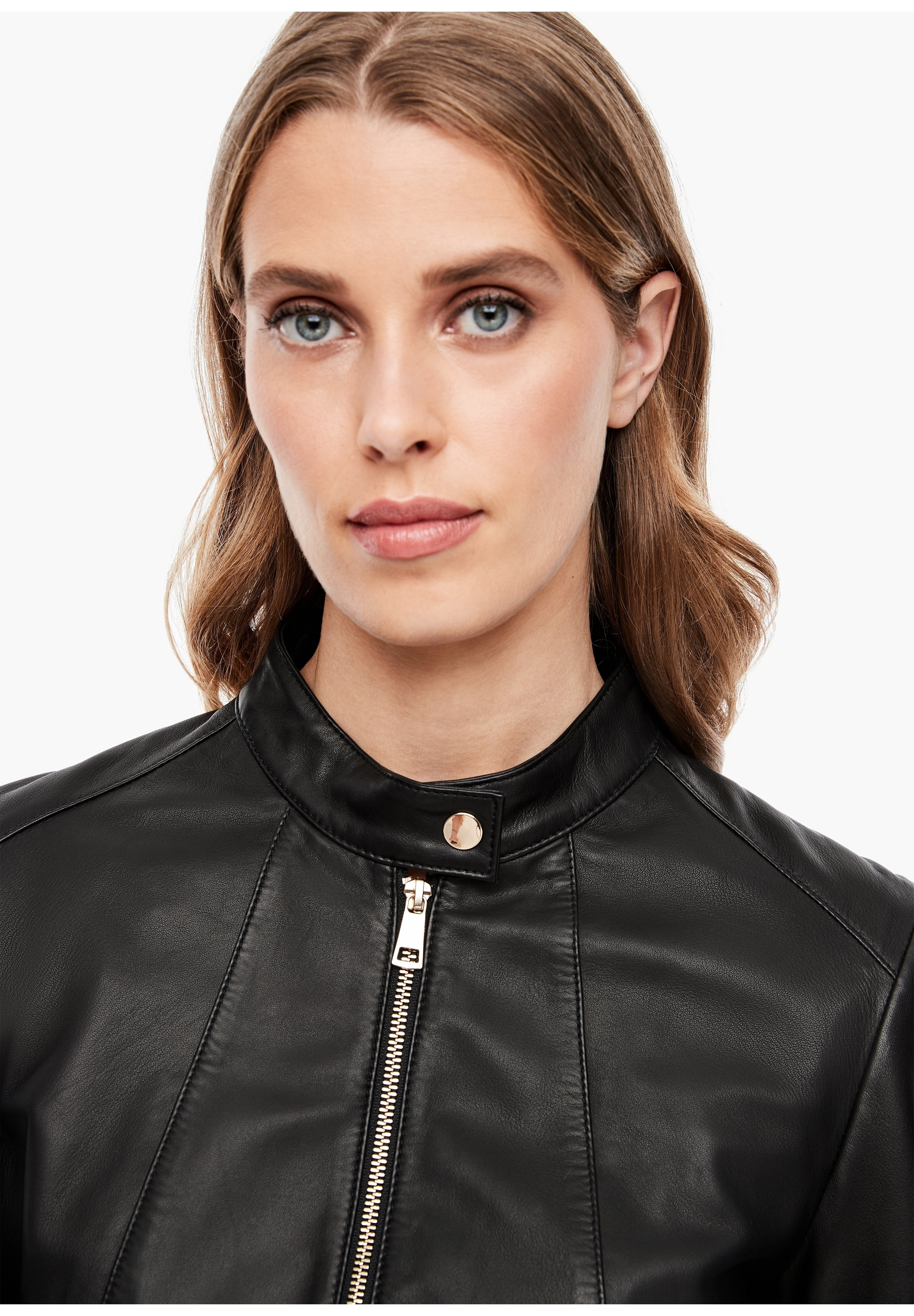 s.Oliver BLACK LABEL Lederjacke black/schwarz