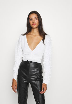 RUFFLE BODY - Long sleeved top - white
