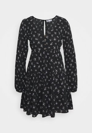 PRINT SHORT DRESS - Day dress - black ground