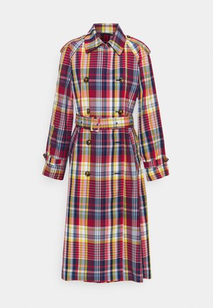 CHECKED COAT - Trenchcoat - lava red