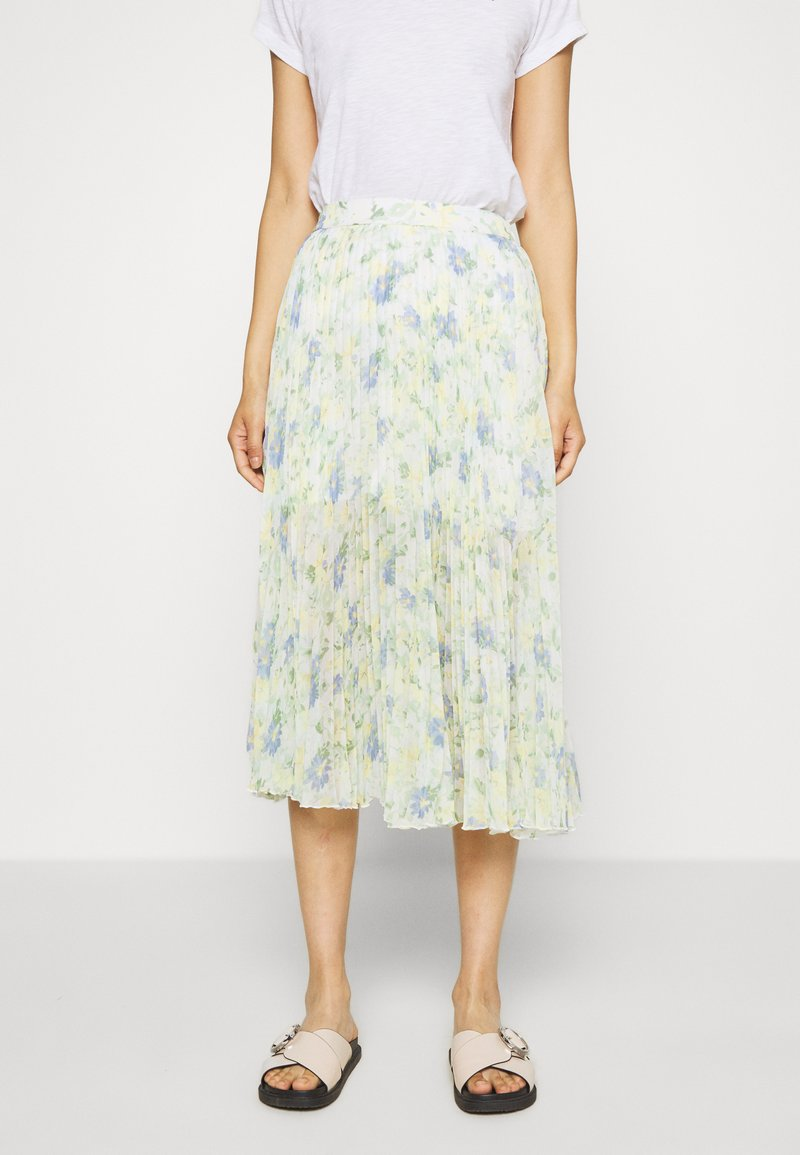 Abercrombie & Fitch - PLEATED MIDI - A-line skjørt - white