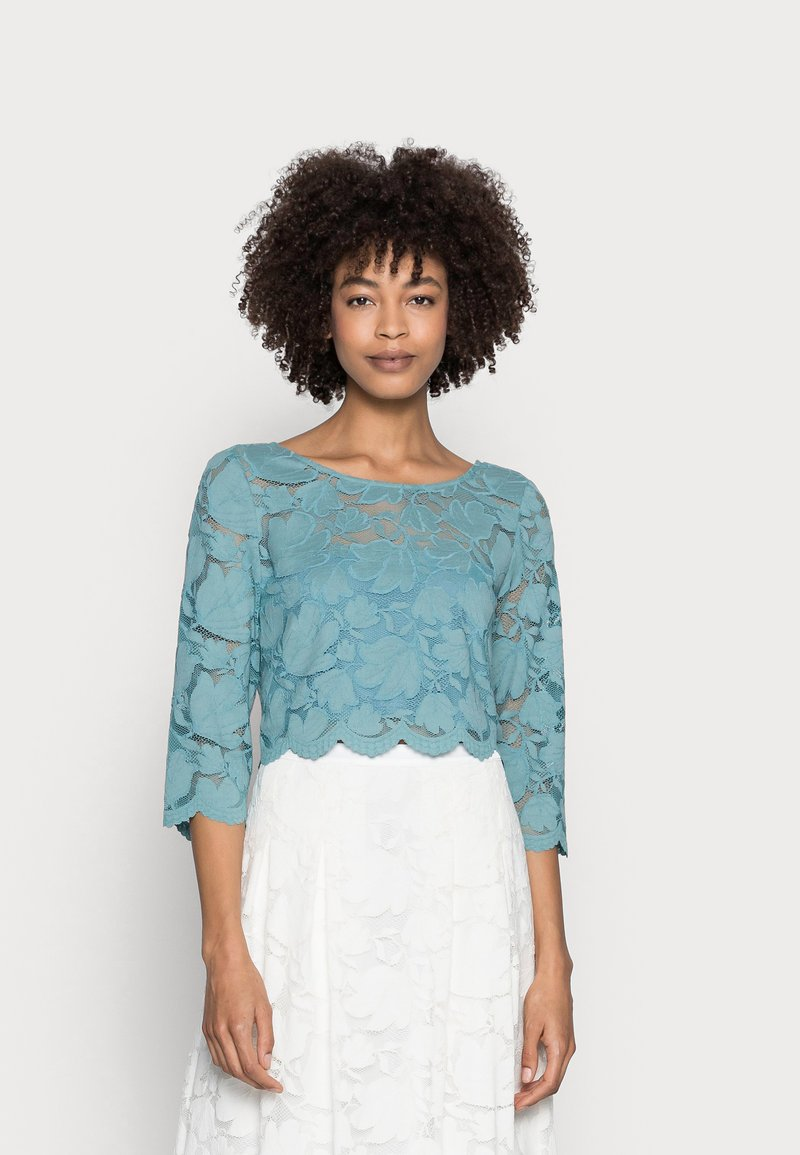 Esprit Collection - LACE SHIRT - Print T-shirt - dark turquoise