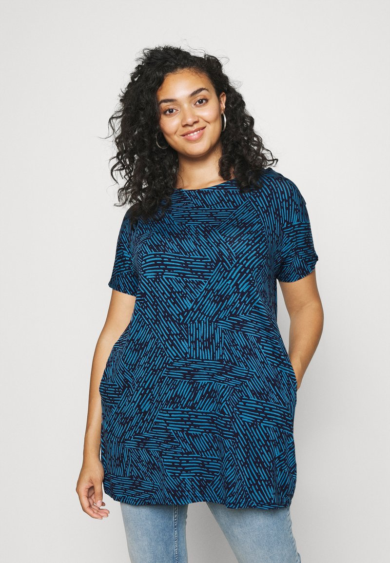 CAPSULE by Simply Be - SHORT SLEEVE SIDE POCKET - Print T-shirt - blue