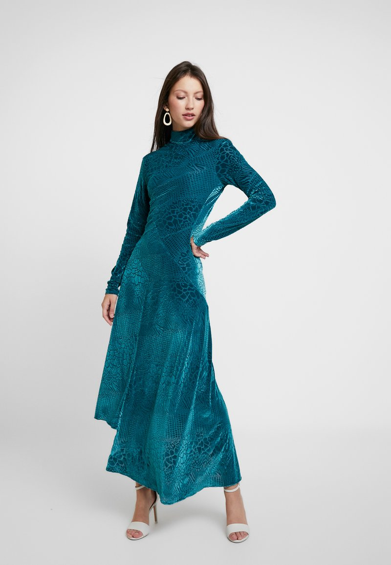 House of Holland - SNAKE DEVORE ASYMMETRIC DRESS - Occasion wear - teal