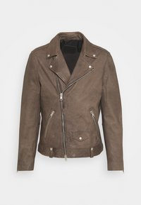 MILO BIKER - Leather jacket - khaki green