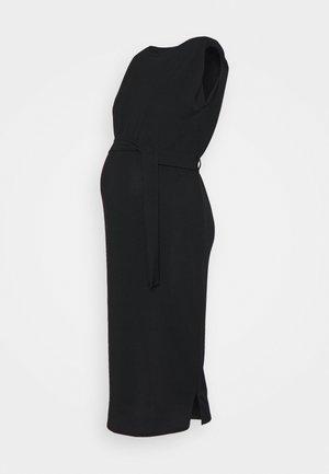 SHOULDERPAD BELTED - Pouzdrové šaty - black