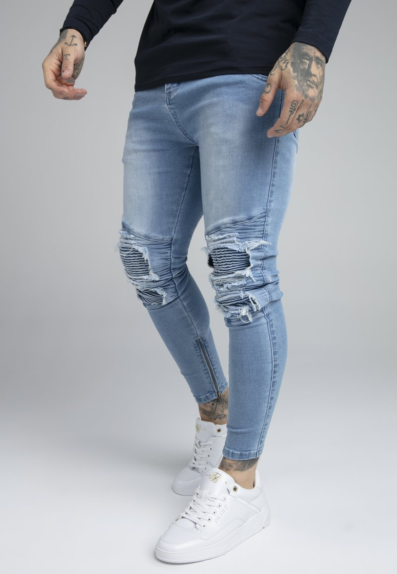 SIKSILK - BIKER - Vaqueros pitillo - light wash