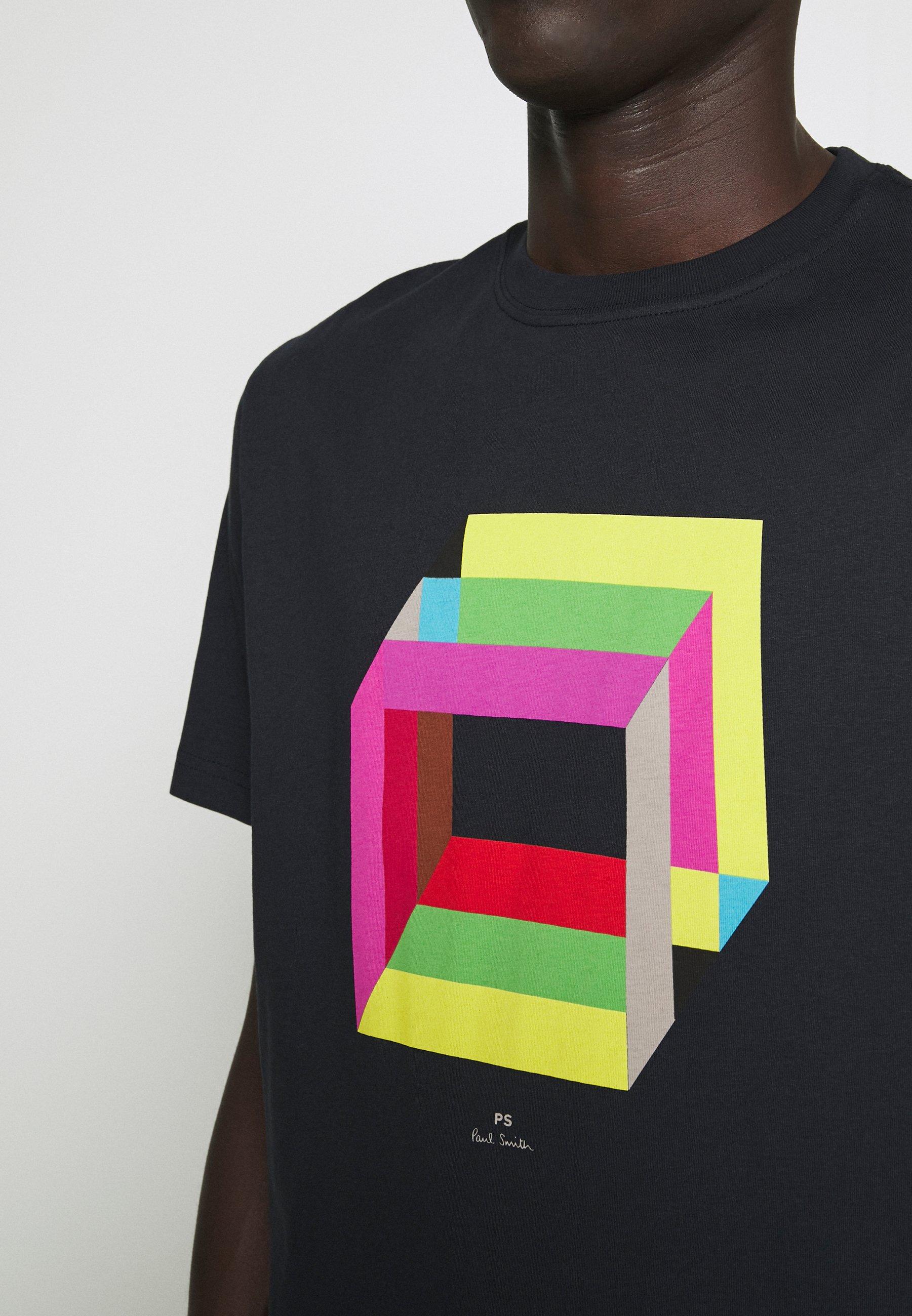 PS Paul Smith MENS REG FIT CUBES - T-shirt imprimé - navy