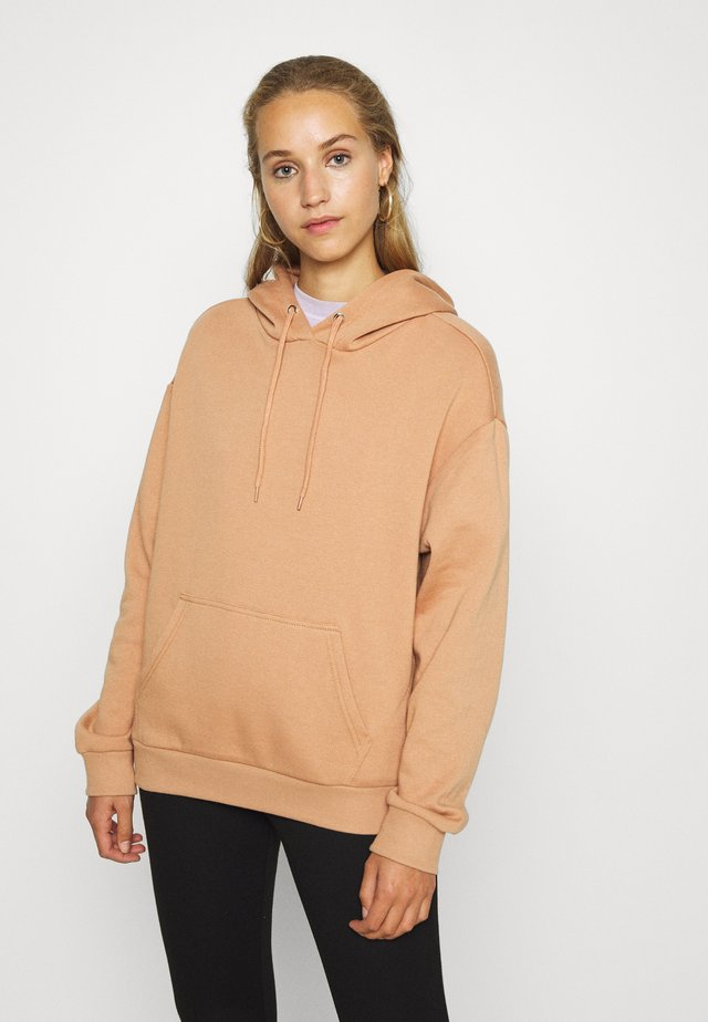 BASIC OVERSIZED HOODIE WITH POCKET - Bluza z kapturem - light tan