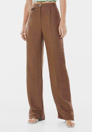 WIDE LEG - Kangashousut - brown