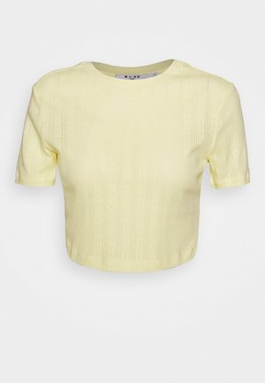 STRUCTURED CROPPED RIBBED TEE - T-shirt basic - yellow