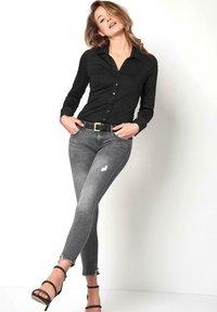 DESOTO - Button-down blouse - black uni - 1