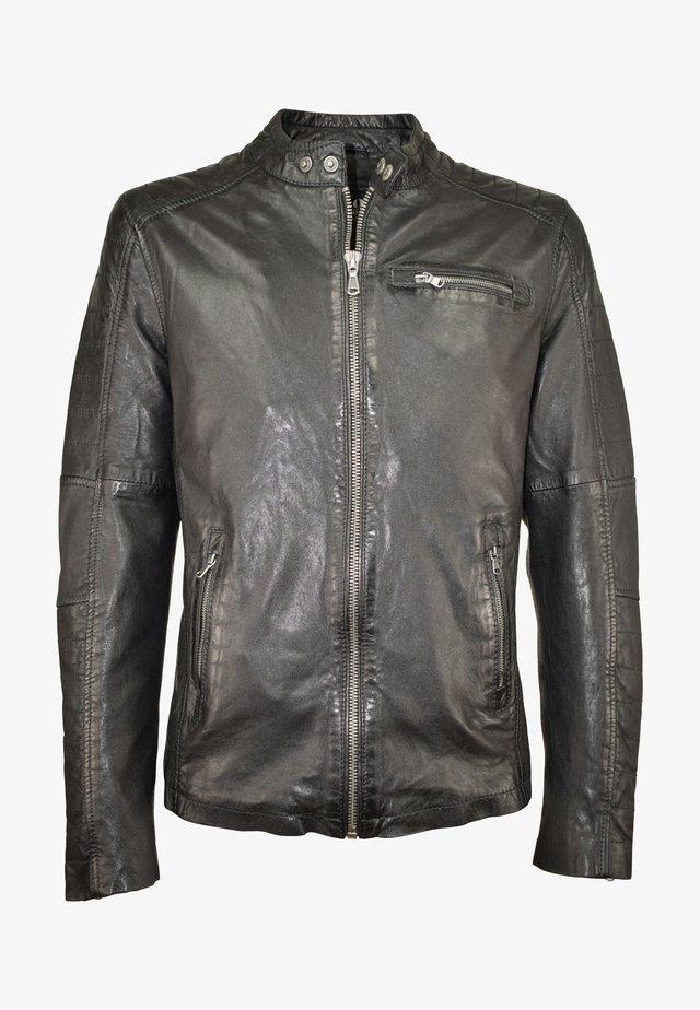 CHRONOS - Leather jacket - schwarz