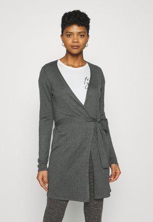 VIMIKA TIE BELT CARDIGAN - Cardigan - dark grey melange