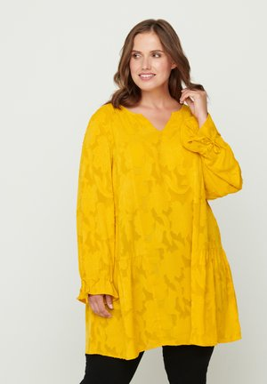 WITH V-NECK - Tunic - yellow