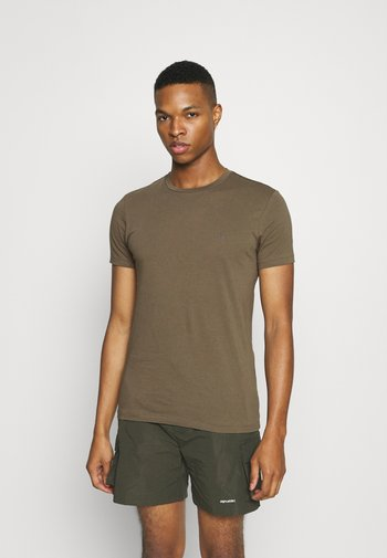 TONIC CREW - Basic T-shirt - peppered brown