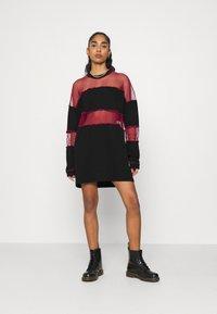 The Ragged Priest - FISHNET SKATER DRESS - Jersey dress - black/red - 1