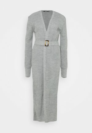 MAXI BELTED CARDIGAN - Strickjacke - grey