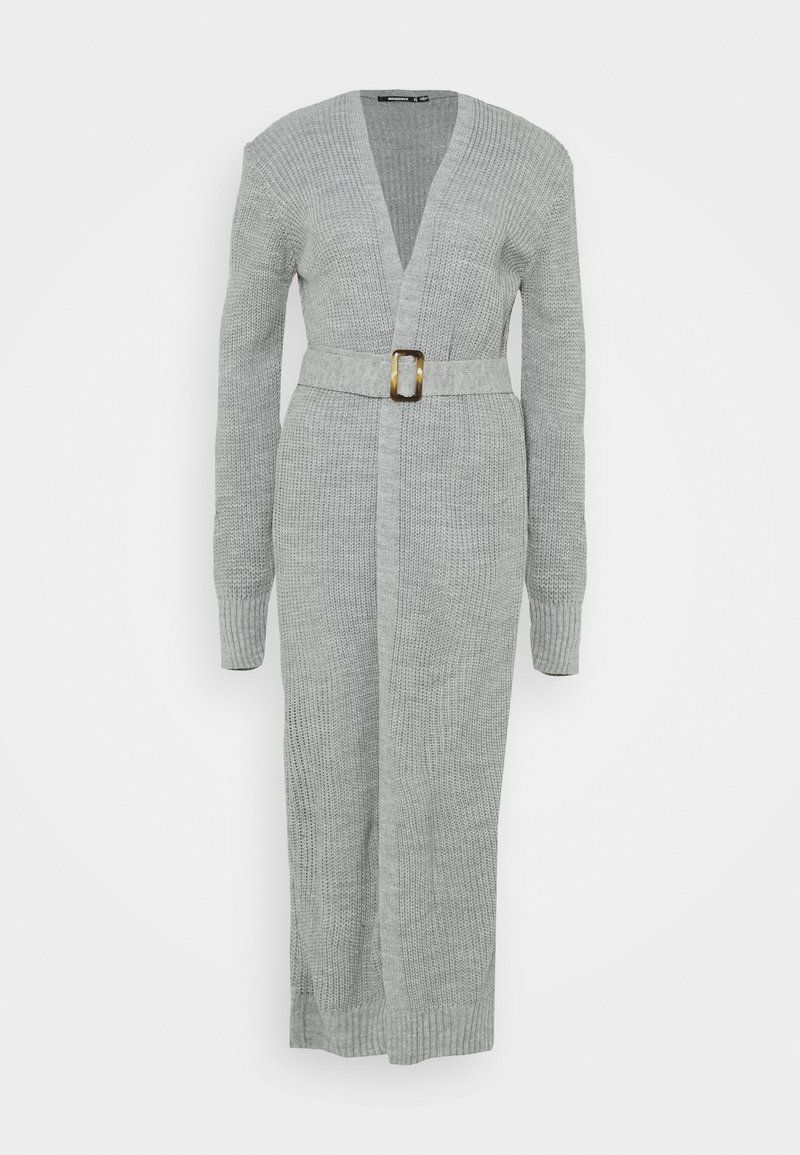 Missguided Tall - MAXI BELTED CARDIGAN - Cardigan - grey