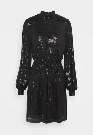 HIGH NECK SEQUIN DRESS - Juhlamekko - black