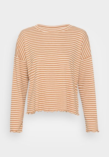 STRIPED LONGSLEEVE - Long sleeved top - camel/beige