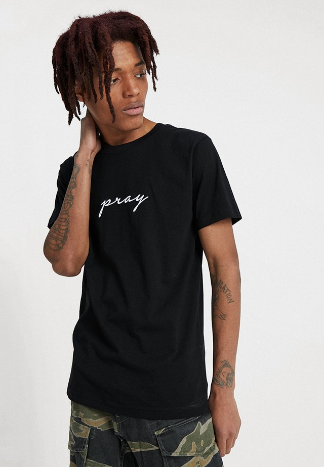 PRAY EMBROIDERY - Print T-shirt - black